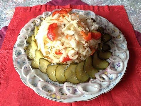 КВАШЕНАЯ КАПУСТА С БОЛГАРСКИМ ПЕРЦЕМ И МОРКОВЬЮ 🍴 Притягательно вкусный и хрустящий салат