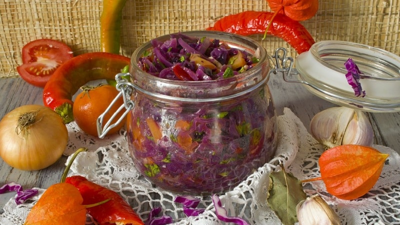 Простые, но очень вкусные рецепты краснокочанной капусты, маринованной кусочками