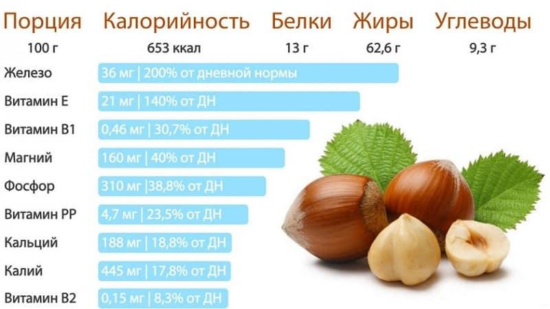 Полезные свойства и вред фундука при похудении