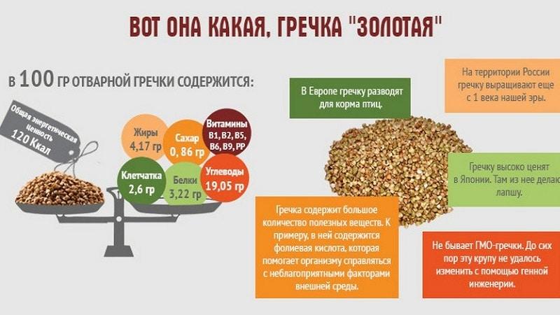 Сколько углеводов, белков и жиров содержит вареная гречка на 100 грамм?